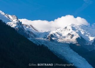 Le mont blanc et le glacier des bossons - A CHAMONIX - le 15 aout 2012 - photo : Gilles Bertrand