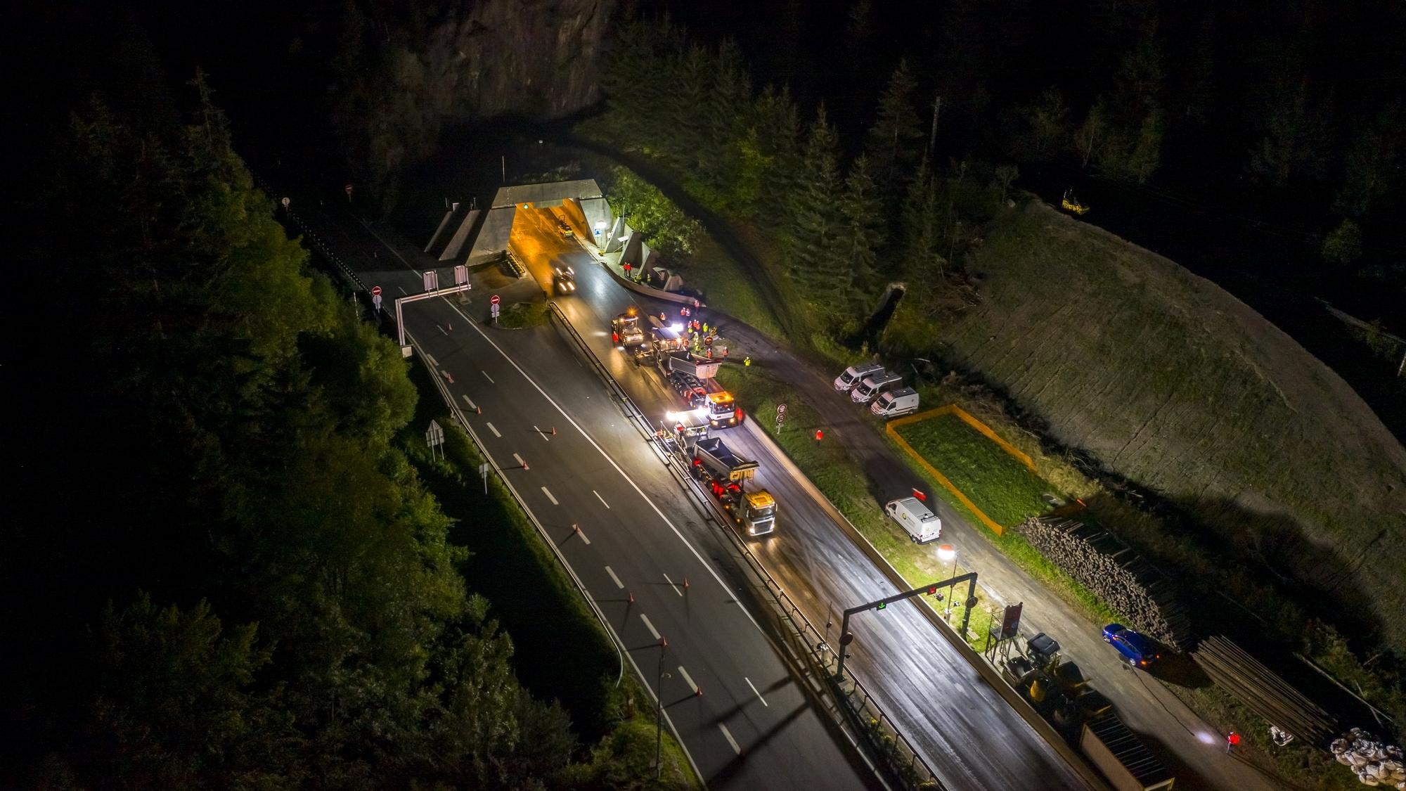 chantier route nuit